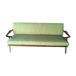 Custom Z Mid Century Style Green Sofa