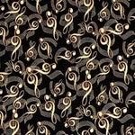 Image of Piano Bench Cushion - Black Metallic Music Note