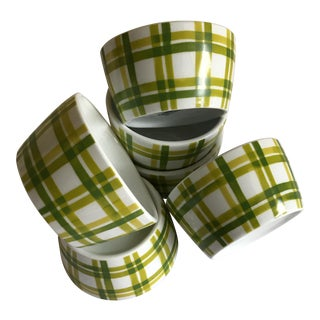 Chartreuse Plaid Sauce Ramekins - Set of 6
