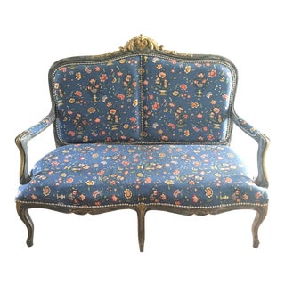 Antique Louis XV Blue Floral Settee