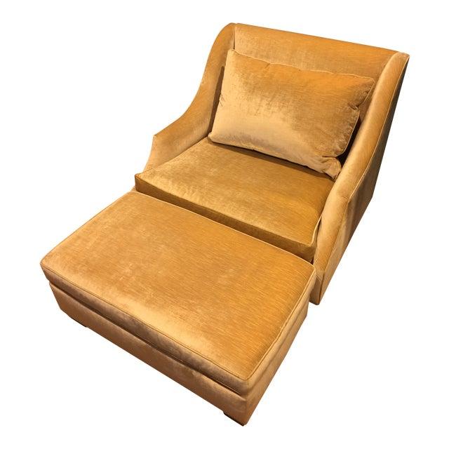 Custom Vintage Armchair With Ottoman | Chairish