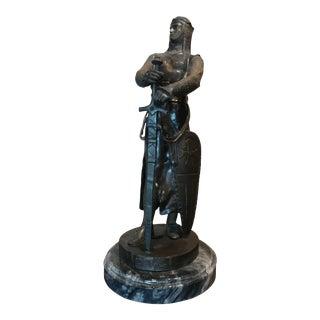 Maurice Favre Crusader Warrior W/Sword & Shied French Bronze Sculpture