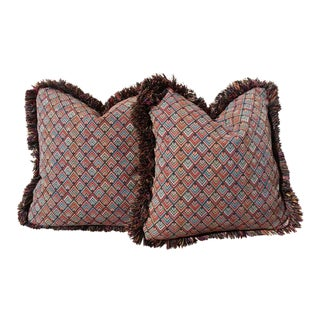 Vintage Art Deco Style Fringed Pillows- A Pair