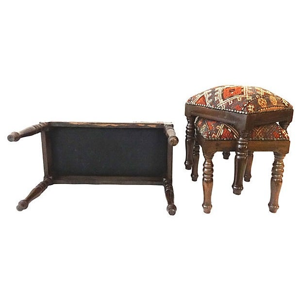 Image of Antique Caucasian Upholstered Stools - 3