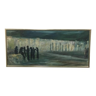 """Original Vintage Oil Painting """"The Wailing Wall"""" by the Artist Barborini, 1951"""
