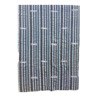 African Indigo Gray and Blue Striped Tribal Mud Cloth Textile