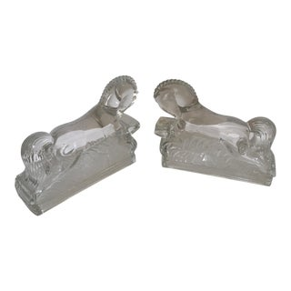 Pair of Vintage Molded Glass Horse Bookends