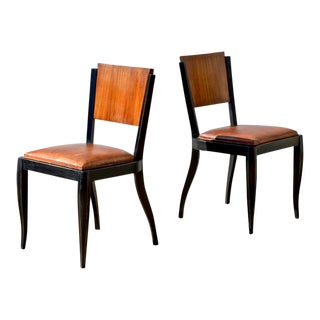 French Art Deco Style Ebonized Side Chairs - a Pair