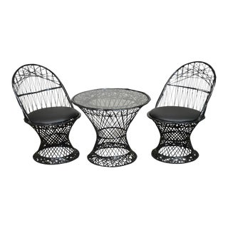 Russell Woodard Spun Fiberglass Youth Size Pair of Chairs & Table Patio Set