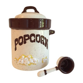 Speckled Pottery Popcorn Canister with Scoop