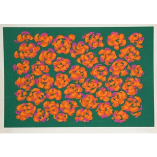 "1979 Nadine Prado ""Orange Flowers on Green"" Print"