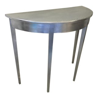 Metallic Finish Solid Wood Demi Lune Table