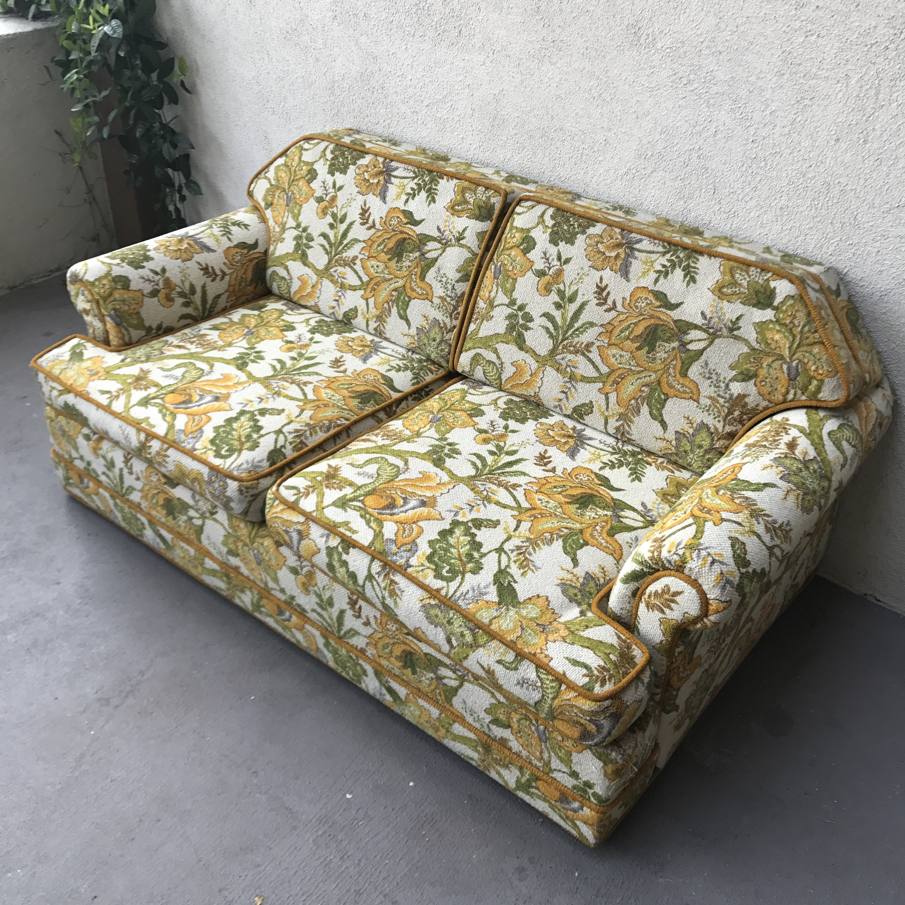 Floral Sofa vintage mid-century modern upholstered floral sofa | chairish