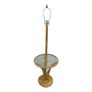 Rattan Bamboo Style Floor Lamp with Glass Table