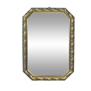 1970s Vintage Black & Gold Octagonal Hall Mirror