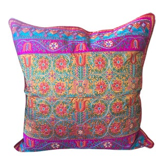 Festive Handwoven Silk Embroidered Accent Pillow
