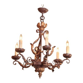 19th Century French Six-Light Iron Chandelier