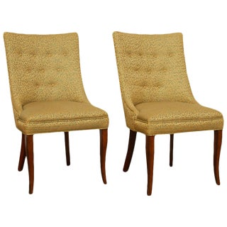 Mid-Century Modern Scoop Back Gold Side Chairs