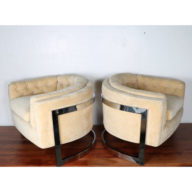 Milo Baughman Style Club Chairs - A Pair - Image 8 of 10