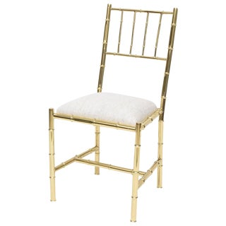 Italian Faux Bamboo & Polished Brass Chair
