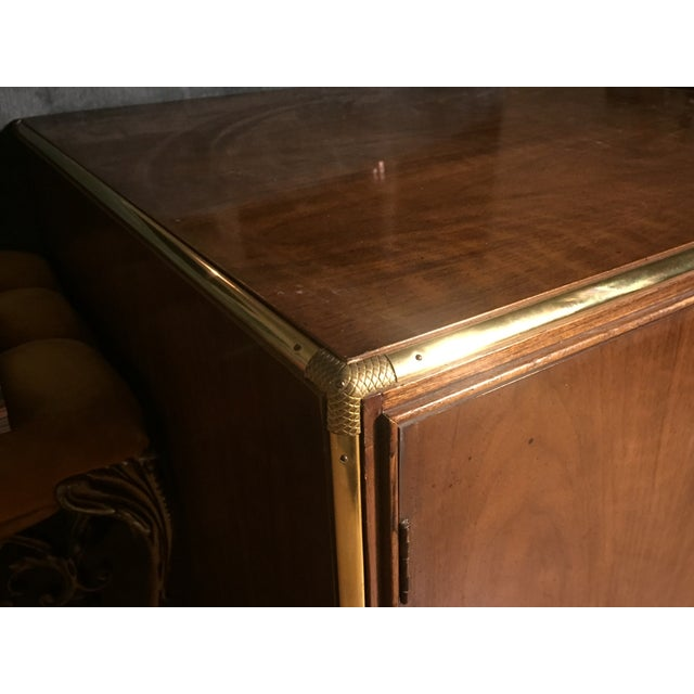 Image of Wood and Brass Cocktail Table