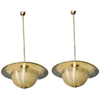 Barovier and Toso Modernist Hanging Light Fixtures - A Pair