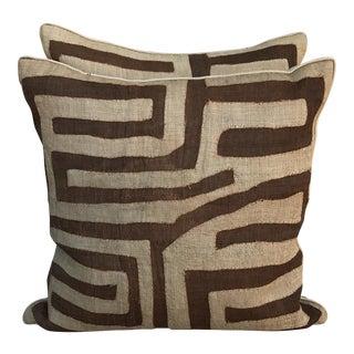 Brown & Cream African Kuba Cloth Pillows - A Pair