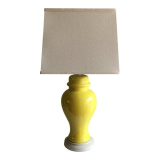 Midcentury Lemon Yellow Chinoiserie Lamp