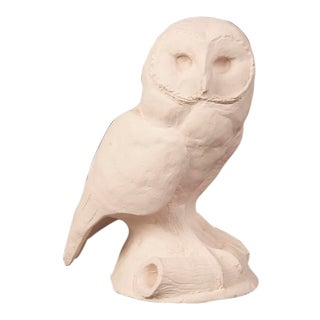 Vintage French White Plaster Maquette of an Owl circa 1960