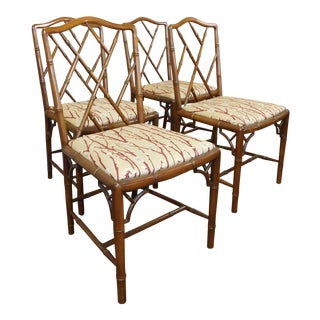 1970s Faux Bamboo Chinese Chippendale Style Dining Chairs - Set of 4