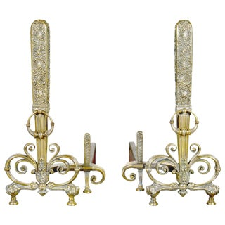 Fine Pair of Brass and Wrought Iron Andirons Attributed to Tiffany Studios