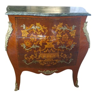 20th Century French Louis XV Kingwood and Mahogany Marble Top Bombe Commode