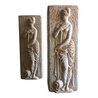 Vintage Grecian Themed Vases - A Pair