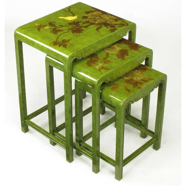 Three Embossed & Parcel Gilt Rich Jade Green Nesting Tables - Image 2 of 10