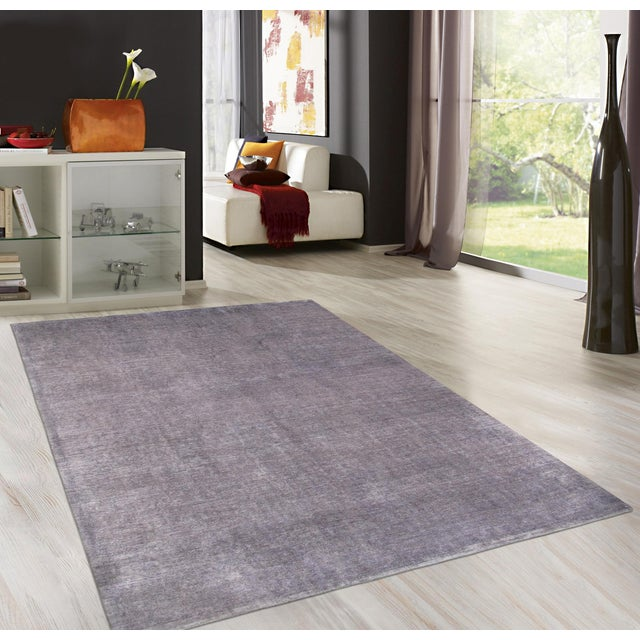 Overdyed Amethyst Wool Area Rug - 9′11″ × 13′2″ - Image 4 of 4