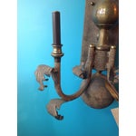 Image of Metal and Brass Wall Sconces - A Pair