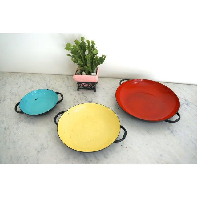 Colorful Enamel Tray Bowls - Set of 3 - Image 6 of 7