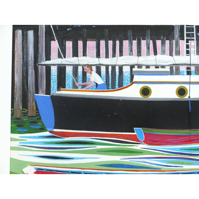 Mid-Century Modern Nautical Gouache Painting - Image 3 of 9
