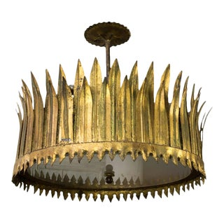 Gilt Metal Sunburst Crown Ceiling Fixture With Frosted Glass