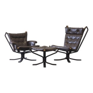 Mid-Century Modern Sigurd Ressell His & Hers Falcon Chairs - Set of 3