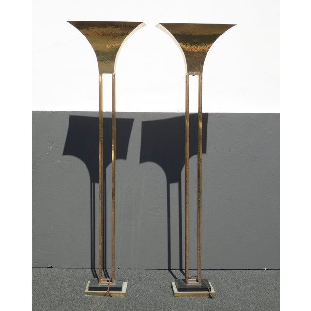 Mid-Century Art Deco Brass Plated Torchiere Floor Lamps - a Pair - Image 2 of 11