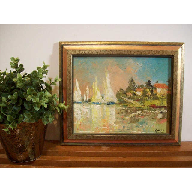 Vintage French Nautical Oil Painting - Image 6 of 7