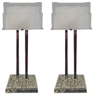 French Art Deco Geometric Table Lamps - A Pair