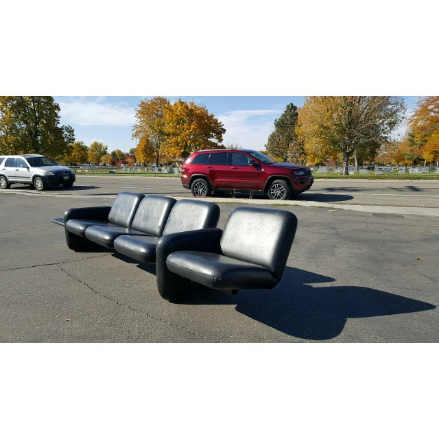Ray Wilkes for Herman Miller Spaceage Chiclet Sofa in Black Leather - Image 4 of 11