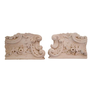 White Marble Architectural Bookends - A Pair