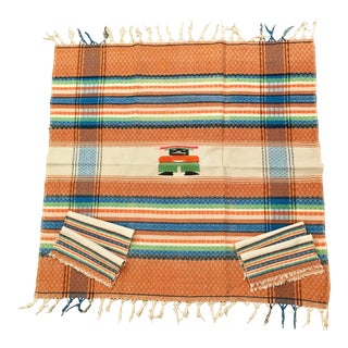 Mid-Century Aztec Tablecloth & Napkins - Set of 5