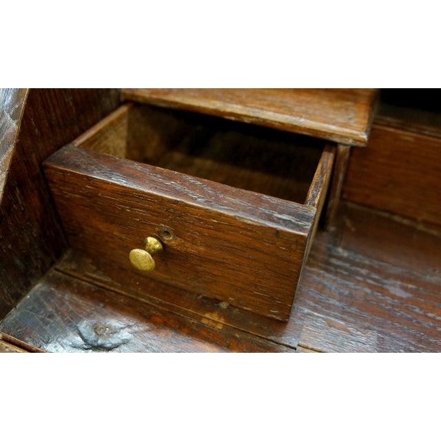 Ornate Hand Carved Oak Secretary Desk - Image 6 of 7
