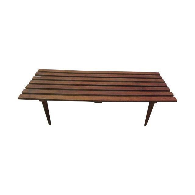 Danish Modern Walnut Slat Bench Coffee Table - Image 1 of 11