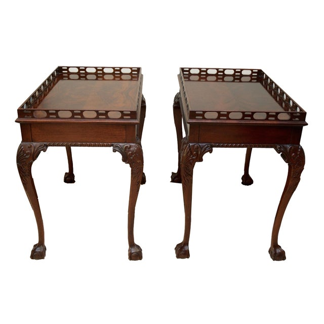 Mahogany Ball & Claw Foot Side Tables - Pair