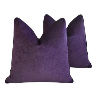 "24"" Custom Tailored Ultra Violet Purple Velvet Feather/Down Pillows - a Pair"
